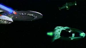 USS_Enterprise-D_and_Romulan_warbird_contend_for_a_Romulan_scout_ship